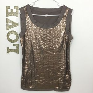 ANN TAYLOR LOFT SEQUINED FRONT TANK
